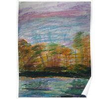 Pastel Sunset on the Riverbank Poster