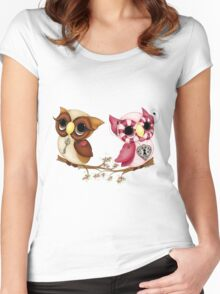 So In Love Hooties - Valentines Owl Art Women's Fitted Scoop T-Shirt