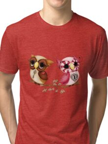 So In Love Hooties - Valentines Owl Art Tri-blend T-Shirt