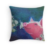 Pig Smelling Orchids Throw Pillow