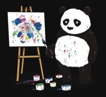 Pandas paint colorful pictures. Baby Tee