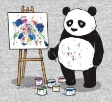 Pandas paint colorful pictures. Kids Tee