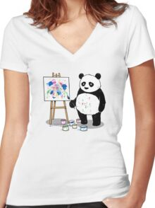 Pandas paint colorful pictures. Women's Fitted V-Neck T-Shirt