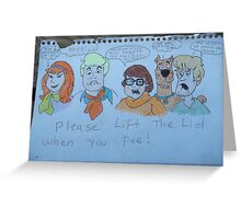 Funny scooby Doo bathroom sign Greeting Card