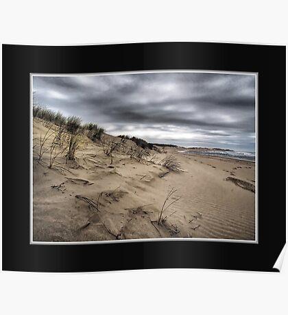 Dark day on the Beach Poster