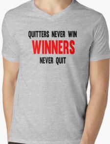 Quitters Never Win Winners Never Quit Mens V-Neck T-Shirt