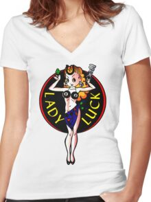 Lady Luck Women's Fitted V-Neck T-Shirt