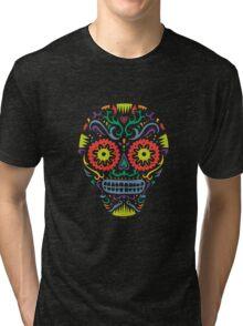 Sugar Skull SF -  on blackSugar skull SF in black white and orange. © Andi Bird  All Rights Reserved. Tri-blend T-Shirt