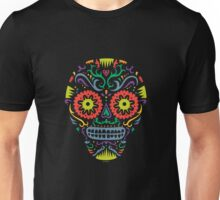Sugar Skull SF -  on blackSugar skull SF in black white and orange. © Andi Bird  All Rights Reserved. Unisex T-Shirt