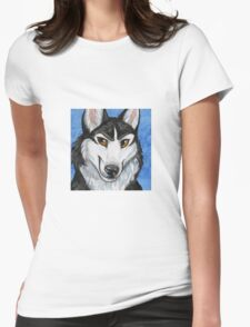 Siberian Husky Portrait Womens Fitted T-Shirt