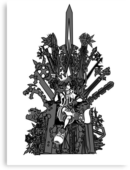Kingdom Hearts: Game of Hearts blk+wht by NITEMARECHILD