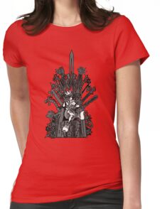 Kingdom Hearts: Game of Hearts blk+wht Womens Fitted T-Shirt