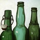 Green Bottles realistic still life oil painting by LindaAppleArt