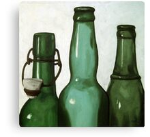 Green Bottles realistic still life oil painting Canvas Print
