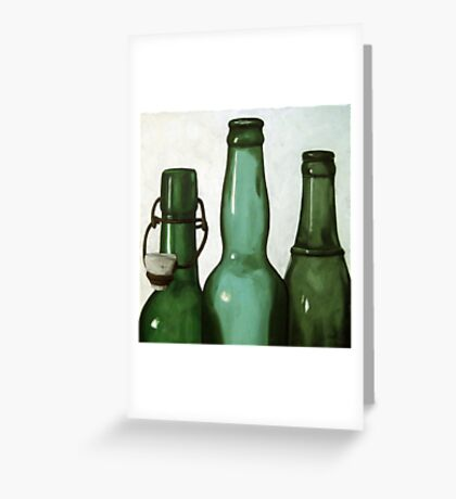 Green Bottles realistic still life oil painting Greeting Card