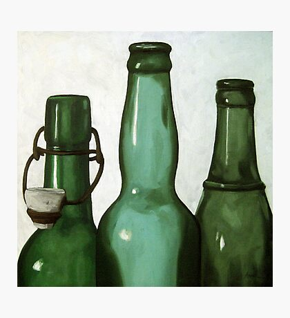 Green Bottles realistic still life oil painting Photographic Print