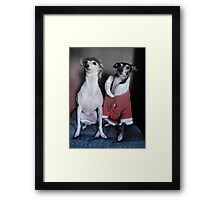 Santa's Italian Greyhound Elves Framed Print