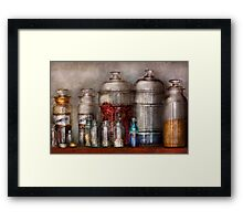 Pharmacy - Mysterious pebbles, powders and liquids Framed Print