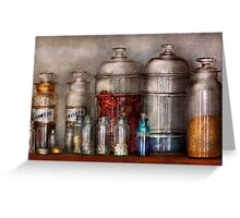 Pharmacy - Mysterious pebbles, powders and liquids Greeting Card