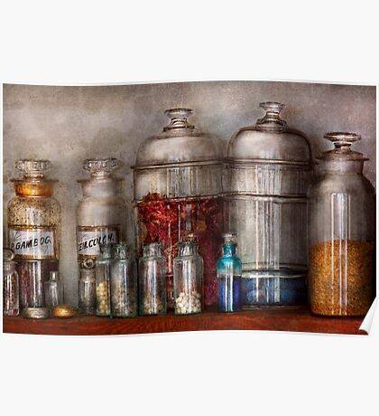 Pharmacy - Mysterious pebbles, powders and liquids Poster