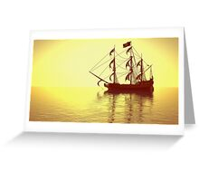 The Pirate Ship And The Sunset Greeting Card