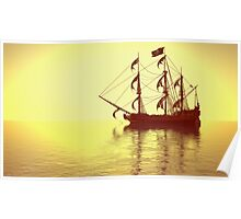 The Pirate Ship And The Sunset Poster
