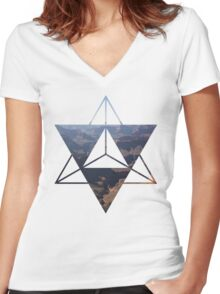 desert Merkaba Women's Fitted V-Neck T-Shirt