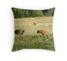 Female Sandhill Crane with her Young Throw Pillow