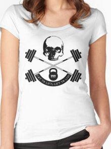 My wife is a weight lifter, so... - black print Women's Fitted Scoop T-Shirt