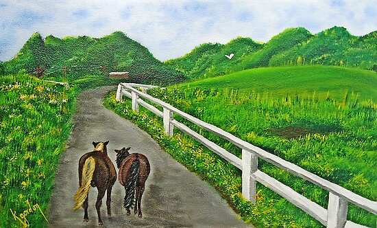 Just a Couple of Horses Asses...Down On Oko's Farm by WhiteDove Studio kj gordon