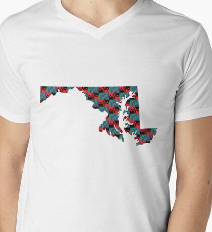 Maryland Flag [Purple][Repeat]   State Line   SteezeFactory.com Mens V-Neck T-Shirt