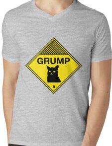 Grumpy Cat Warning Mens V-Neck T-Shirt