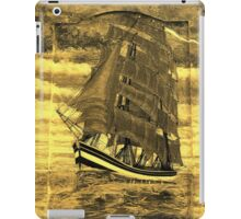 A sepia digital painting of my acrylic painting of a Clipper Ship iPad case iPad Case/Skin