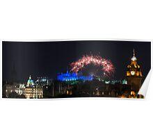 Fireworks over old Edinburgh Poster
