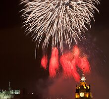 Vertical vew on Edinburgh castle with fireworks by -Silus-