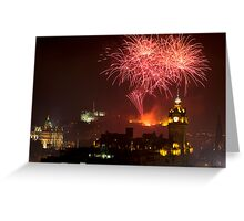 Horizontal view on Edinburgh castle with fireworks Greeting Card