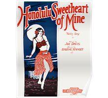 HONOLULU SWEETHEART OF MINE (vintage illustration) Poster