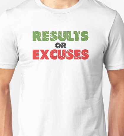 Results or Excuses | Fitness Slogan | Retro Unisex T-Shirt