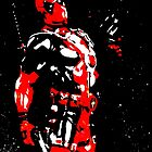 Deadpool high contrast acrylic splatter by justin13art