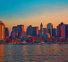 USA. Massachusetts. Boston. Downtown. Sunset. by vadim19