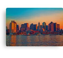 USA. Massachusetts. Boston. Downtown. Sunset. Canvas Print