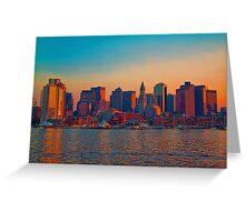 USA. Massachusetts. Boston. Downtown. Sunset. Greeting Card