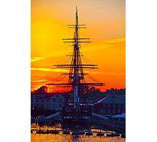 USA. Massachusetts. Boston. USS Constitution. Sunset. Photographic Print