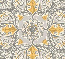 Gypsy Floral in Soft Neutrals, Grey & Yellow on Sage Sticker