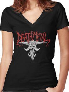 Death Metal Demonic-Skull Women's Fitted V-Neck T-Shirt