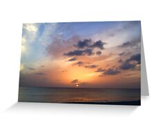 Tiki Beach Caribbean Island Sunset in Fire Orange and Purple Glowing Color Greeting Card