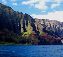 Blue Pacific and Rugged Na Pali Coastline of Kauai Hawaii by Amy McDaniel
