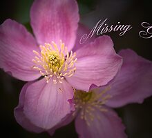 Pink Clematis & Missing You text card by walstraasart