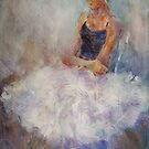 Sitting Pretty - Painting Of Young Ballet Dancer by Ballet Dance-Artist