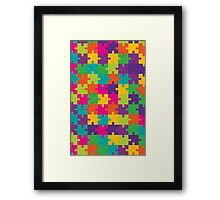 Colorful Jigsaw Puzzle Pattern Framed Print